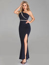 Women Fashion One-Shoulder Mermaid Long Formal Evening Dress With Side Split Ez07489-Navy Blue 4