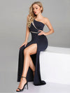 Women Fashion One-Shoulder Mermaid Long Formal Evening Dress With Side Split Ez07489-Navy Blue 2