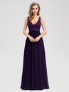 Purple Long Lace V Neck Formal Holiday Evening Dresses Ez07538-Dark Purple 1