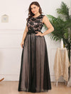 Elegant A Line Sleeveless Long Evening Dress With Appliques Ez07545-Blush 5