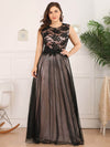 Elegant A Line Sleeveless Long Evening Dress With Appliques Ez07545-Blush 3