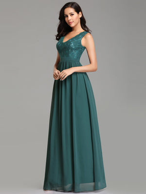 Ever-Pretty Double V Neck Empire Waist Lace Evening Dresses EZ07577