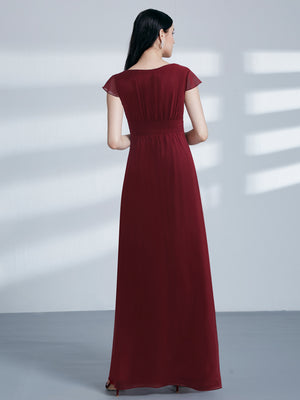 Ever-Pretty Women Fashion A Line V Neck Long Bridesmaid Dress With Sleeve EZ07583