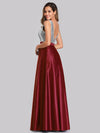 Long V Neck Sequin Holiday Party Prom Dresses Ez07638-Burgundy 4