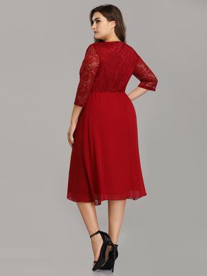 Ever-Pretty Elegant A Line Lace Cocktail Party Dress Knee Length EZ07641