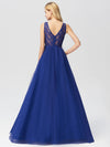 Elegant A Line V Neck See Through Long Bridesmaid Dress Ez07645-Sapphire Blue 2