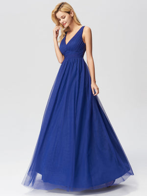 Ever-Pretty Elegant A Line V Neck See Through Long Bridesmaid Dress EZ07645