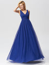 Elegant A Line V Neck See Through Long Bridesmaid Dress Ez07645-Sapphire Blue 4