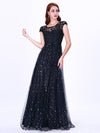 Maxi Long Tulle Dresses With Cap Sleeve Ez07650-Navy Blue 1