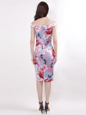 Ever-Pretty Off the Shoulder Floral Print Keen Length Dresses for Women EZ07653