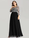 Elegant A Line Long Lace Plus Size Evening Dresses Ez07688-Black 4