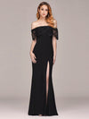 Long Off Shoulder Black Lace Formal Evening Dresses Ez07699-Black 1