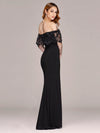 Long Off Shoulder Black Lace Formal Evening Dresses Ez07699-Black 2