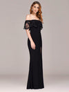 Long Off Shoulder Black Lace Formal Evening Dresses Ez07699-Black 3