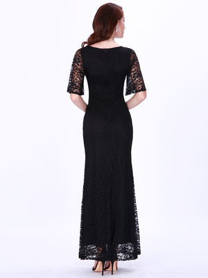 Ever-Pretty Elegant A Line V Neck Flare Sleeve Lace Evening Dress With Split EZ07700