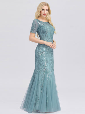 Ever-Pretty Women's Short Sleeve Embroidery Sequins Mermaid Dresses EZ07705