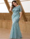 Plus Size Women'S Short Sleeve Embroidery Sequins Mermaid Dresses-Dusty Blue 3