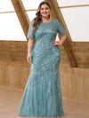 Plus Size Women'S Short Sleeve Embroidery Sequins Mermaid Dresses-Dusty Blue 4