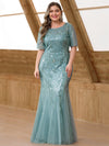 Plus Size Women'S Short Sleeve Embroidery Sequins Mermaid Dresses-Dusty Blue 1