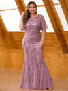 Plus Size Women'S Short Sleeve Embroidery Sequins Mermaid Dresses-Orchid 1