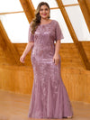 Plus Size Women'S Short Sleeve Embroidery Sequins Mermaid Dresses-Orchid 2