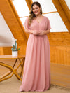 Plus Size Elegant A Line Short Sleeve Long Chiffon Bridesmaid Dresses Ez07717-Mauve 4