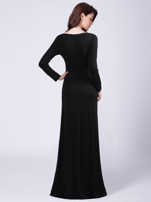 Ever-Pretty V Neck Black Dress With Long Sleeve EZ07735