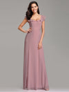 Elegant A Line V Neck Long Bridesmaid Dresses Ez07737-Mauve 3