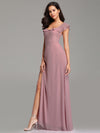Elegant A Line V Neck Long Bridesmaid Dresses Ez07737-Mauve 1