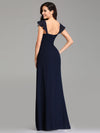 Elegant A Line V Neck Long Bridesmaid Dresses Ez07737-Navy Blue 2