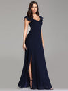 Elegant A Line V Neck Long Bridesmaid Dresses Ez07737-Navy Blue 3