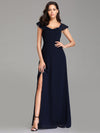 Elegant A Line V Neck Long Bridesmaid Dresses Ez07737-Navy Blue 1