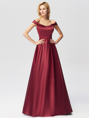Ever-Pretty Long Burgundy Satin Off Shoulder Women Prom Gown Dresses EZ07742