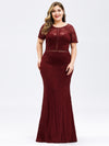 Elegant A Line Lace Floor Length Party Dress Ez07752-Burgundy 6