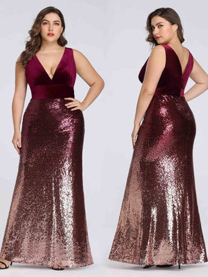 Ever-Pretty Long Velvet and Sequin Mermaid Prom Dresses EZ07767