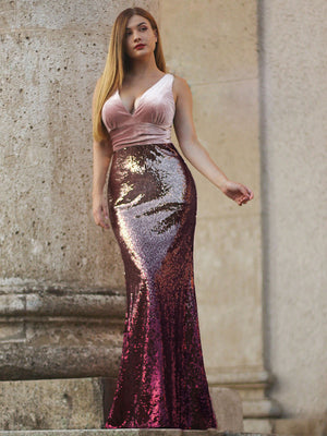 Ever-Pretty Long Velvet and Sequin Mermaid Prom Dresses EZ07767 (3520344784960)