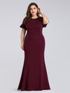 Plus Size Fitted Burgundy Evening Dress-Burgundy 3