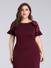 Plus Size Fitted Burgundy Evening Dress-Burgundy 5
