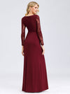 Fishtail Dresses With Long Lace Sleeve Ez07771-Burgundy 2