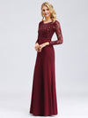 Fishtail Dresses With Long Lace Sleeve Ez07771-Burgundy 6