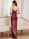 Hot V Neck Side Ruched Mermaid Wholesale Sequin Evening Dress