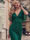 V-Neck Bodycon Shiny Wholesale Sequin Dresses With Flutter Sleeves-Dark Green 5