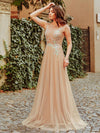 Women'S A-Line See-Through Cap Sleeve Evening Dresses Ep00902-Beige 1