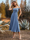 Off the Shoulder Wholesale Lace Bodice Ankle Length Evening Dress
