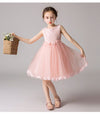 Lace Appliques Bow Sashes Wedding Pageant Flower Girl Dresses Cg03386-Pink 1
