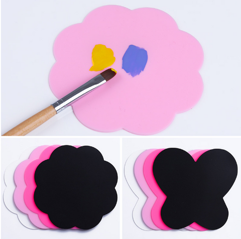 2Pcs Silicone Paint Palette Mat Butterfly Plum Blossom Foldable Washable Nail Art Stamping Pad