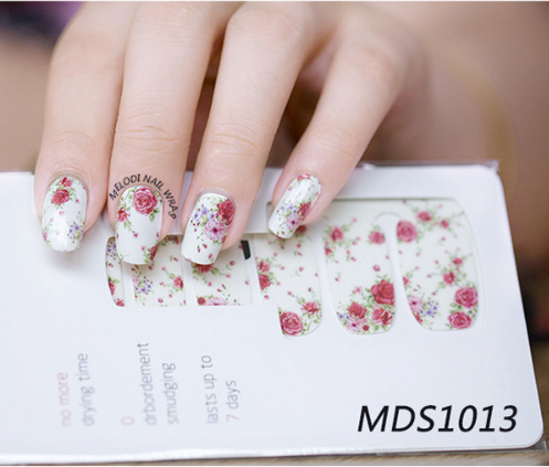 14pcs/ Sheet Flowers Nail Wraps Red Rose