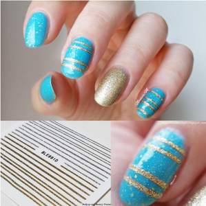 1 Sheet Gold Silver Lines Stickers 3D Nail Art