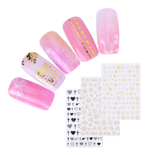 3D Nail Sticker Transfer Stickers Flamingo Geometric Heart