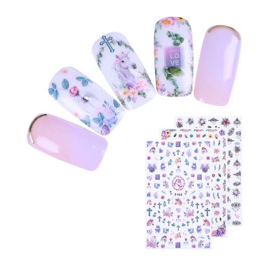 2 Sheets Necklace Feather 3D Nail Sticker Geometry Daisies